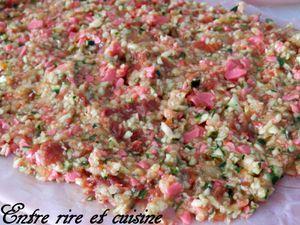 Roulé de dinde farcis au Jambon, Courgettes, Tomates séchées et Fromage à la Tomate