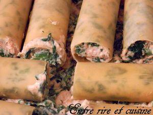 Gratin de cannelloni Ricotta/Epinards/Colin