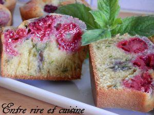 Muffins menthe / framboises pour &quot&#x3B;Recettes autour d'un ingrédient #20&quot&#x3B;