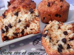 Muffins à la noix de coco et pépites de chocolat