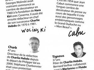 Les victimes Cabu, Charb, Wolinski et Tignous. Photo 2 Cabu, 3. Wolinski 4. Tignous 5. Charb (source AFP photo) 6. Photo Reuters informations victimes.
