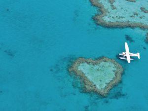 Les îles Whitsundays, l'île en forme de coeur, la barrière de corail, Australie