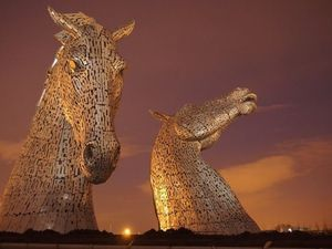 The Kelpies, Sculpture de chevaux, Falkirk, Ecosse
