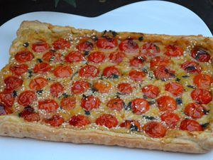 Tarte méditerranéenne (pois chiches/tomates)