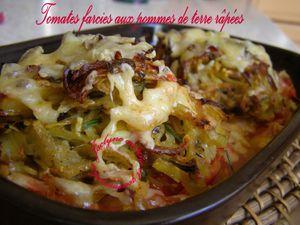 Tomates farcies aux pommes de terre râpées, épices, herbes, comté (photos avant et après cuisson) Vous allez vous régaler :) Jaclyne www.cuisineetgourmandise.fr