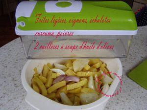 Frites légères au four, oignons, échalotes, poivres, curcuma (Une façon de faire...) Jaclyne www.cuisineetgourmandise.fr