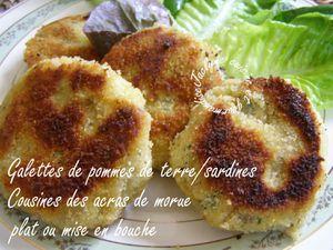 Galettes de pommes de terre/sardines *Cousines des acracs de morue* Plat ou mise en bouche Jaclyne www.cuisineetgourmandise.fr