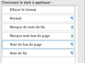 Feuille de style des notes de page word