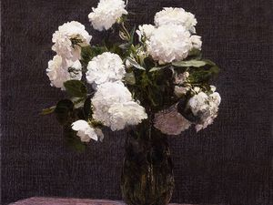 Roses blanches, 1875 et Vase de roses, 1875. source Wikipedia