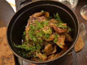 Risotto aux cèpes - Merlan (viande) - agneau fondant et petits légumes