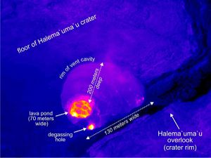 Kilauea - the lowest level of the lava lake / left on 19.03.2010 - right, 08.03.2011 - a click to enlarge - photos thermal camera HVO-USGS