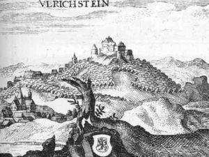 """Ulrich Stein – à gauche, Extrait du Topographia Hassiae par Matthäus Merian 1655 – à droite,  Gravure sur cuivre in """"Daniel Meisner's Schatzkästlein"""". Entre 1637 à 1678. - Un clic pour agrandir"""