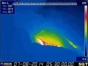 Stromboli - anomalie thermique entre 5h30 et 5h36 loc - doc Webcam therm. INGV / via Volcanodiscovery