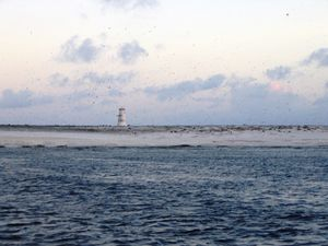 Jarvis Island: left , the lighthouse on the west coast / Joann94024 - right photo: remains of the Guano tramway