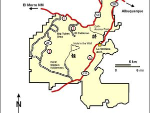 Left, Location of El Malpais compared to the volcanism of the Colorado Plateau - right, left access simplified map.