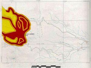 Cartes des zones à risques pour le Chiles (à gauche) et le Cerro Negro (à droite) - doc. Ingeominas / un clic pour agrandir - En rouge : zone à risques forts de coulées pyroclastiques, de coulées de lave, chutes de cendres ou effondrement latéral -  En orange : Zone à risques modérés de coulées pyroclastiques et de lahars - En Chamois : Zone à risques importants de chutes de cendres, et faible pour les autres risques volcaniques.