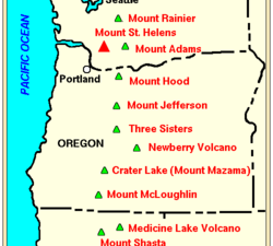 Volcanoes in the Cascade Range and tectonics - a click to enlarge - Doc. USGS