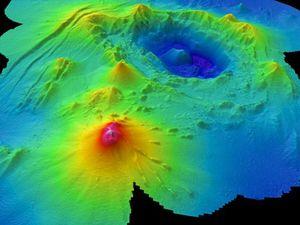 A gauche, image 3D du Monowai -  Doc Chadwick, W. W., et al. (2008) via GeoNet - à droite, croissance vers le sud du cône du Monowai de 1978 à 2011 - Doc. Watts and others (2012) in GVP - un clic pour agrandir