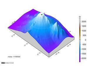 Vues 3D de Nishino-shima - la partie émergée du volcan est en vert bronze - doc MLIT - un clic pour agrandir