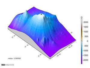 3D views of Nishino-shima - the tip of the volcano is in green bronze - doc MLIT - a click to enlarge