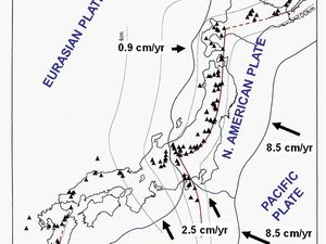 On the left, the location of Azuma,one of the many volcanoes of Japan - Doc. USGS / Lyn Topinka - right, tectonics of the Japan volcanic arc - Doc. Andrew James Martin et al. in ref sources - one click to enlarge.