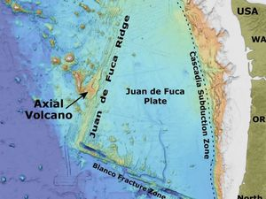 Axial Seamont location on the Juan de Fuca Ridge - Doc. NOAA & GVP
