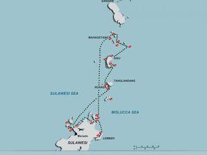 A gauche, carte des risques volcaniques du Karangetang - doc. PVMBG - à droite, localisation du Karangetang sur l'île de SIAU au nord de Sulawesi - un clic pour agrandir