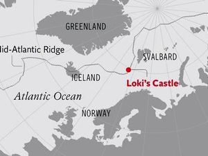 Left, illustration made by computer of the bacterial cells - Doc. Corbis - right, location of Loki's Castle on the Mid-Atlantic Ridge