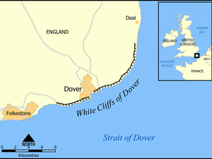 The chalk cliffs of Blanc Nez and of the White cliffs of Dover.- a clic to enlarge