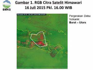Nouvelle direction du panache du Raung, vers le NO - à gauche, le 16.07 / satel. Citra - à droite, le 17.07 / sat.Aqua Modis via Nasa Eodis overview - un clic pour agrandir