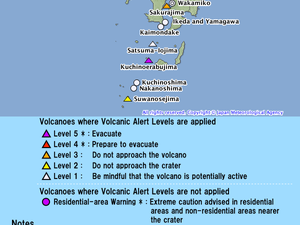 Aso - eruption of 14.9.2015 / NHK, left - right, volcano alert level Kyushu / JMA - a click to enlarge