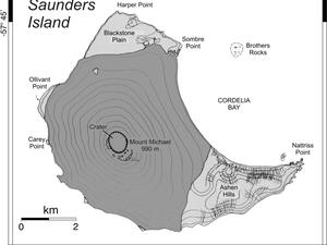 Localisation de l'île Sanders dans les South Sandwich - position du volcan et du cratère sommital - doc. GVP