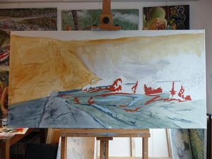 "Stages of the realization of ""Journey to the Center of the Earth"" - oil on canvas from Jocelyn Lardy - Photo © J.Lardy"