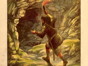 "On the left, first of ""Life and adventures of Alexander Selkrik, the real Robinson Crusoe"" - right, 1865 Illustration by Alexander Frank Lydon (Groombridge and Sons edition). Robinson Crusoe finds a refuge cave. - a click on the images to open them."