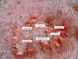 Location of the Aso volcano and its various cones - Doc. GVP - a click to enlarge.