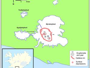 A gauche, le Myrdalsjökull , vu par le satellite Landsat-8 OLI - à droite, la localisation de la caldeira du Katla et des dépressions qui s'y sont formées avec dates. - un clic pour agrandir.