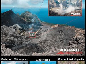Carte de Suwanosejima / GVP - et photos de Tom Pfeiffer / volcanodiscovery au cours d'une excursion lors de  IAVCEI 2013 Scientific Assembly.- un clic pour agrandir.