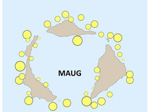 Maug island - couverture coralienne, distribution périphérique et absence dans la caldeira - un clic pour agrandir - doc. NOAA Pacific Islands Fisheries Science Center Blog http://www.pifsc.noaa.gov/