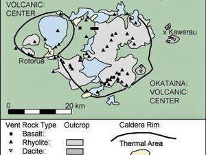 Le Centre volcanique Okataina et la fissure éruptive du Tarawera 1886 - un clic pour agrandir - doc. http://users.skynet.be/etna/NZ/Tarawera.htm