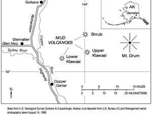 Localisation des volcans de boue Klawasi - sources : AVO / USGS - un clic pour agrandir