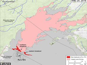 Pu'u O'o et coulée du 27 juin - localisation des 2 nouveaux breakouts - à gaucge, le 24.05 et à droite, le 25.05 - un clic pour agrandir les cartes de l'HVO