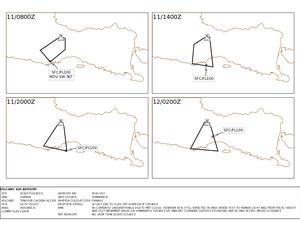 Cartes prévisionnelles de dispersion des cendres du Bromo - la direction des vents a changé libérant les vols sur Malang - cartes VAAC Darwin - un clic pour agrandir
