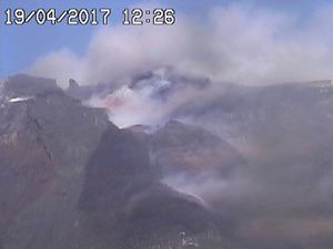 Etna - Strombolian activity on 19.04.2017, at 12h12 and 12h26 respectively - webcam RS7