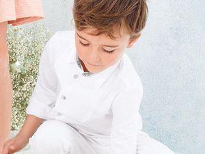 Tenue de première communion en blanc graçon et fille. Blog mode enfants Cyrillus Vertbaudet Zara
