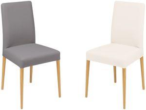 Chaise tissu rembourrée pieds ronds en bois