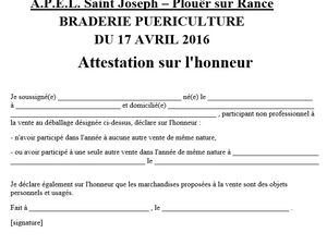 DOSSIER D'INSCRIPTION BRADERIE