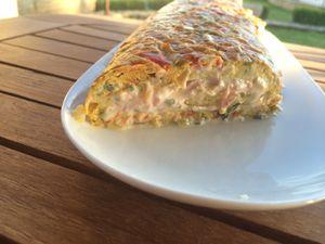 Omelette roulé aux petits légumes &amp&#x3B; sa crème de jambon !