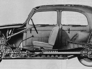 Architecture technique de la Juvaquatre - Ecorché technique de la Simca 8 - Châssis et moteur de la 202. // - CLIQUER sur chaque illustration pour la voir en entier.