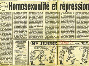 Licenciement de Jean Rossignol (Education Nationale), licenciement de Marc Croissant (Mairie d'Ivry), création du Comité d'Urgence Anti Répression des Homosexuels (CUARH), reportage d'Antenne 2 : http://www.dailymotion.com/video/x7opvk_1979-jean-rossignol-antenne-2-ces-h_news