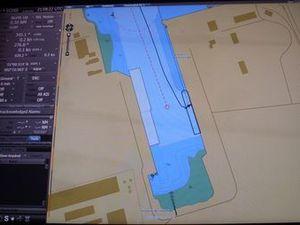 Aperçu des cadrans avec la position du bateau à quai et les images du pont avant et des coursives